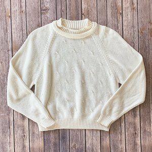 Vintage  Pearl Beaded Crew Neck Sweater